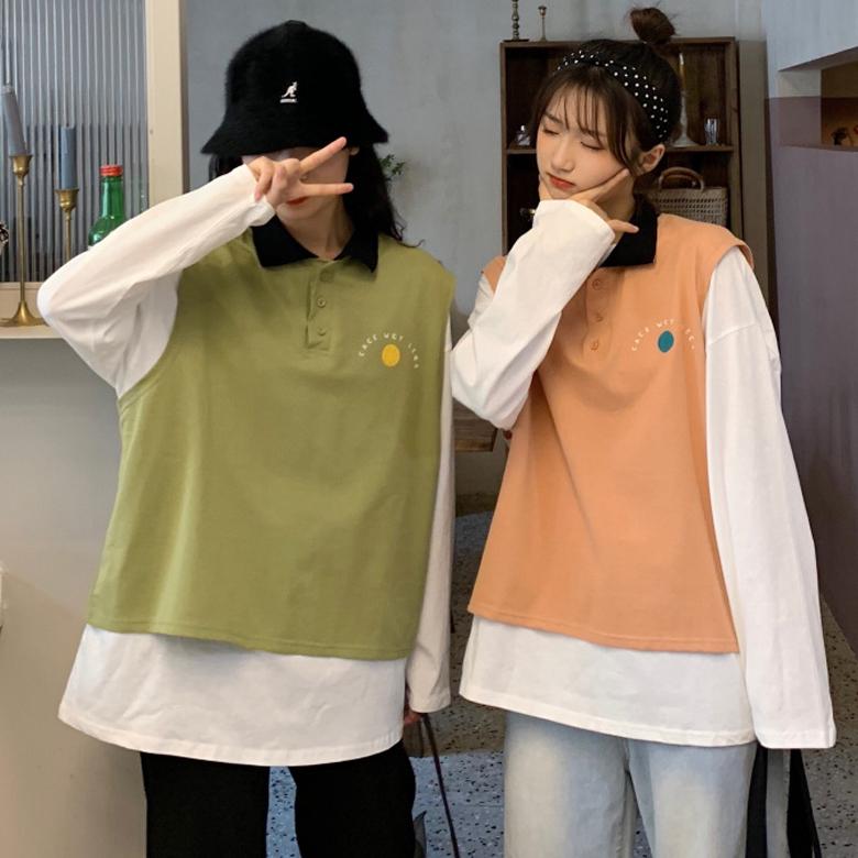 初秋套装2019新款韩版港风宽松长袖T恤马甲背心时尚洋气两件套女券后28.99元