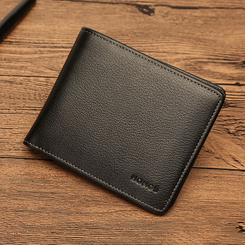 Honggu Red Valley wallet mens authentic personality leather leisure wallet leather thin business mens purse