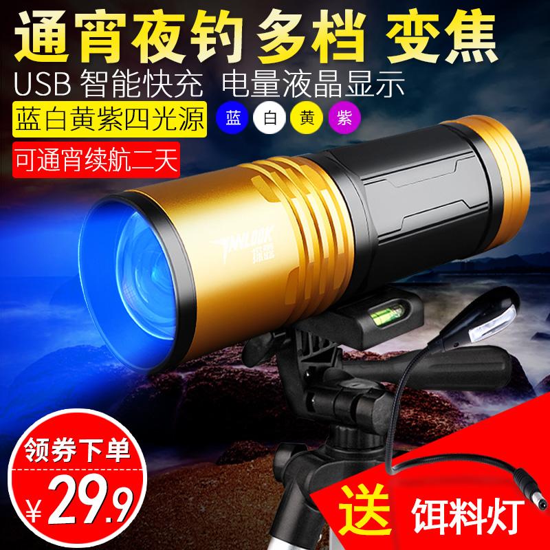 夜光200W夜钓灯钓鱼灯紫光台钓超亮鱼灯大功率充电蓝光手电筒强光