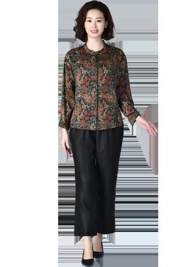 妈妈装2021早春新款重磅印花衬衣女中老年桑蚕丝上衣杭州真丝衬衫