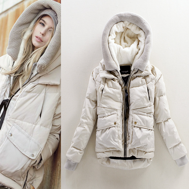 2015 году новые дамы зимнее пальто мягкий с капюшоном короткие женщин в корейской версии мозаика Черная Куртка