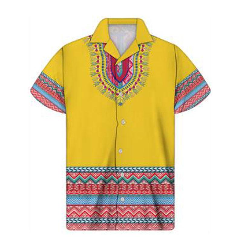 Custom floral Cuban Shirt Short Sleeve mens loose casual printing summer new Bohemian Fashion Top