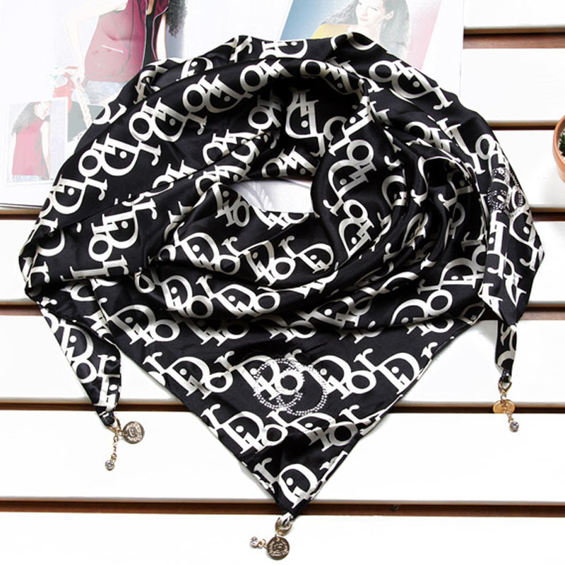 Package post Korean version of autumn and winter silk female black letter triangle Scarf / Scarf Shawl