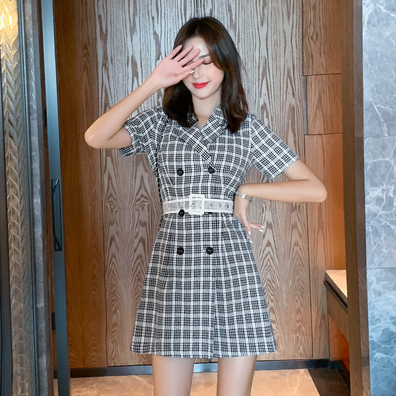 Plaid double breasted suit dress summer 2019 new Korean slim and slim Plaid short sleeve A-line skirt