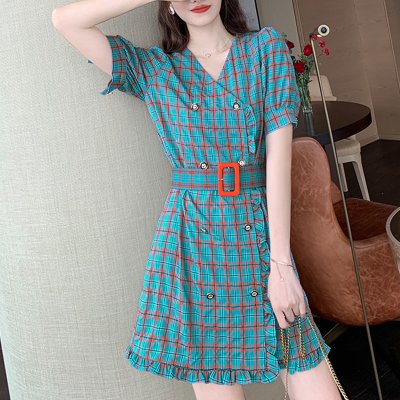 Plaid Dress womens summer 2020 new fashion retro V-neck double breasted waist shows slim A-line skirt