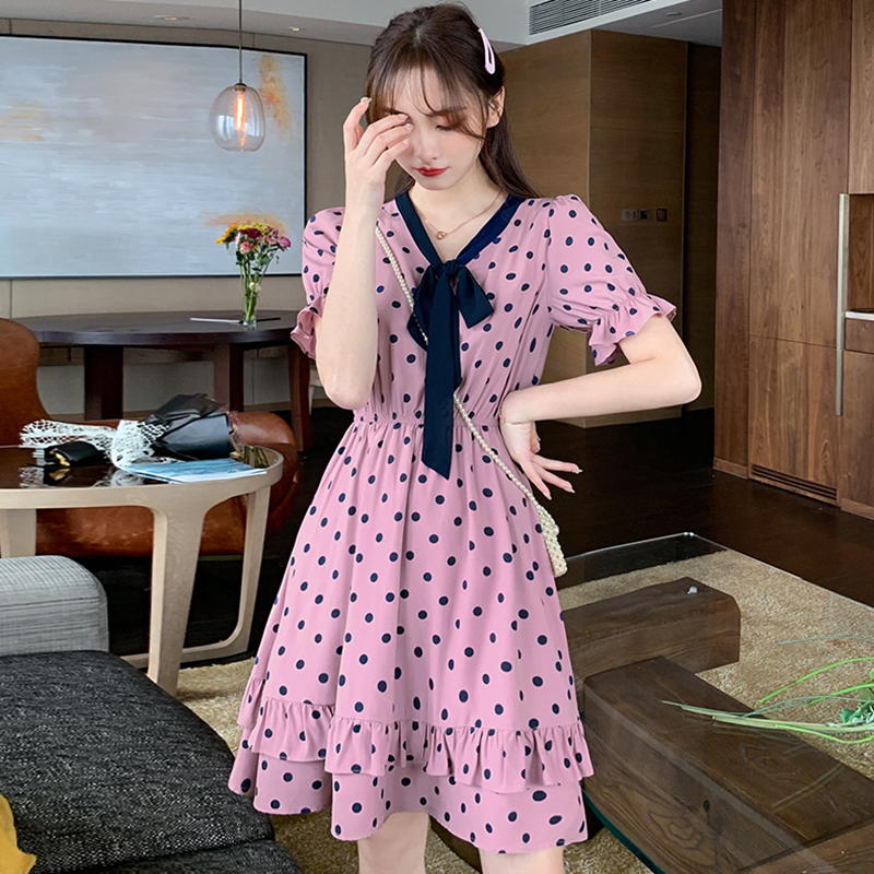 Summer Purple Polka dot dress women 2020 new V-neck lace up Ruffle temperament ladies bubble sleeve skirt