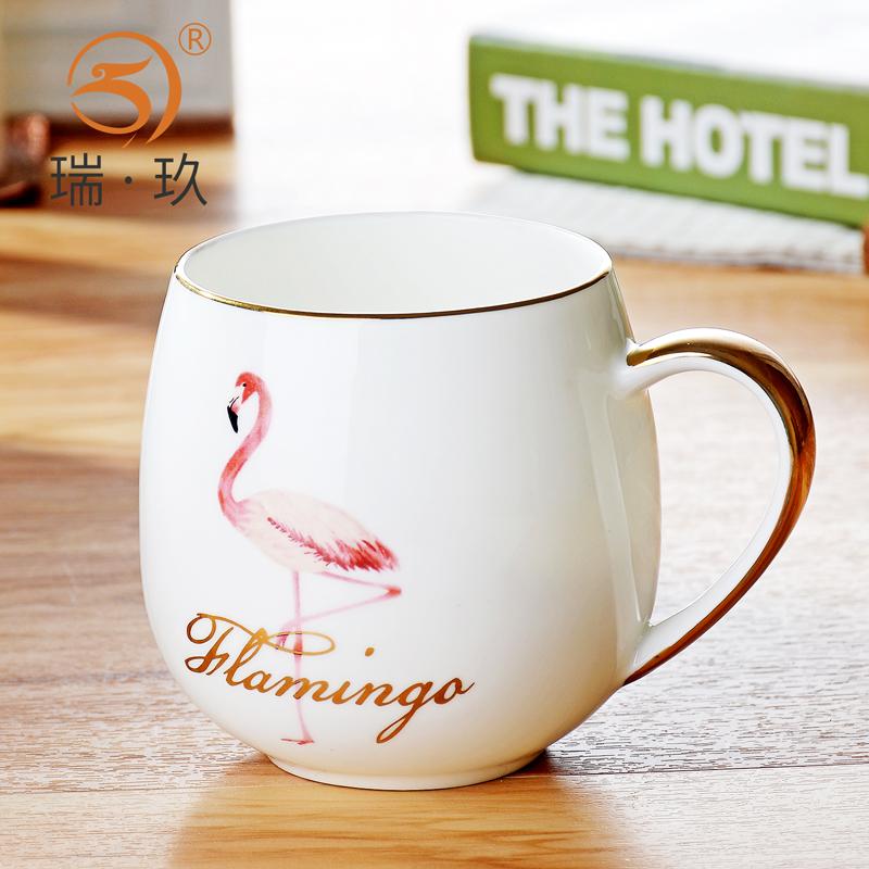 火烈鸟包金华贵骨瓷早餐杯肚杯骨质瓷陶瓷大容量水杯奶杯咖啡杯子