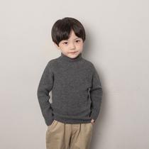 男童高领毛衣套头秋冬款冬季厚款女童100%羊毛衫中大童打底衫韩版