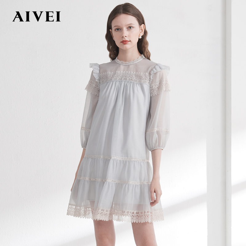 Aivei congratulates ivy on 2020 spring new lace splicing straight tube doll 7-sleeve dress m0160037