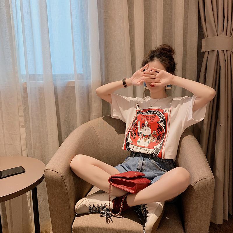 旺财猫印花图案T恤 韩版春装白色短袖t恤女