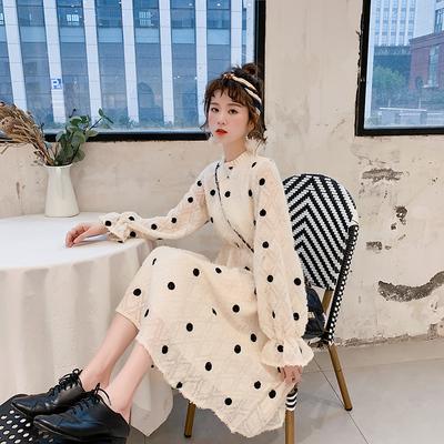 很仙的法国小众波点连衣裙女装春装2019新款流行春秋仙女裙子长裙