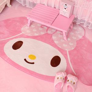 可爱粉色女生居家地毯少女心卡通地垫地毯卧室儿童爬行毛毯游戏垫