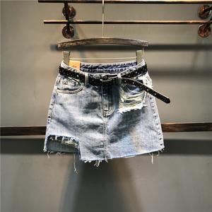欧洲站2021夏季新款潮流百搭破洞防走光A字牛仔半身裙女一步裙潮