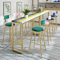 铁艺实木吧台桌椅组合家用长桌酒吧高脚桌咖啡厅桌子靠墙吧台吧椅