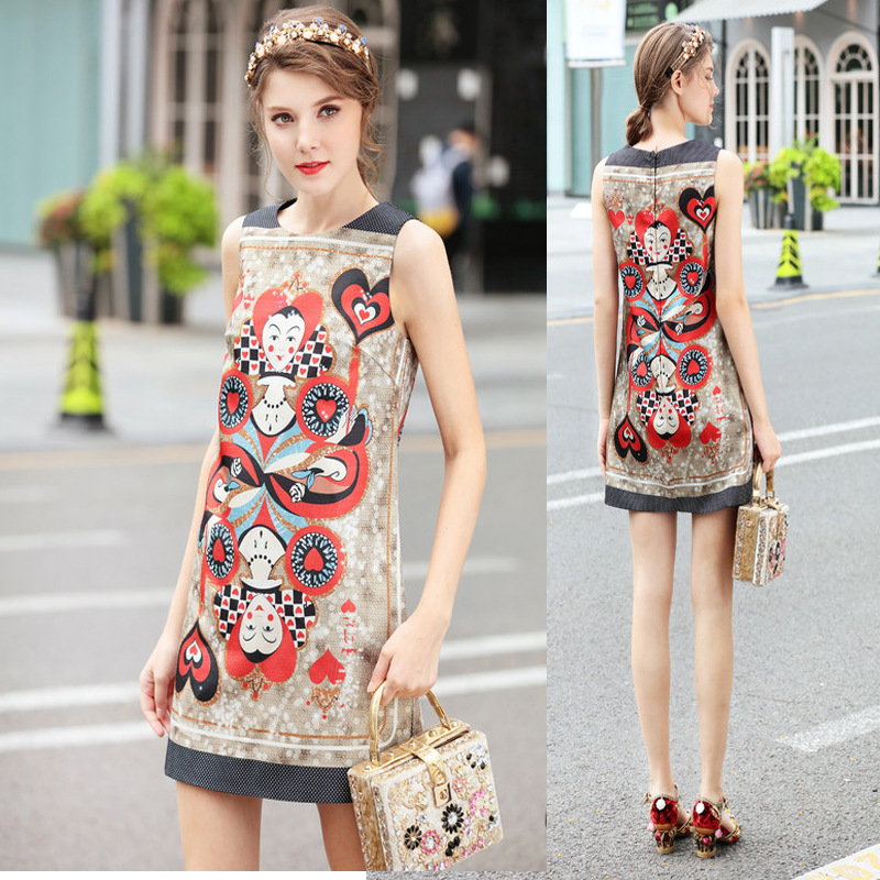 European and American high-end walking show head print exotic style small a versatile dress sleeveless vest skirt womens spring and summer