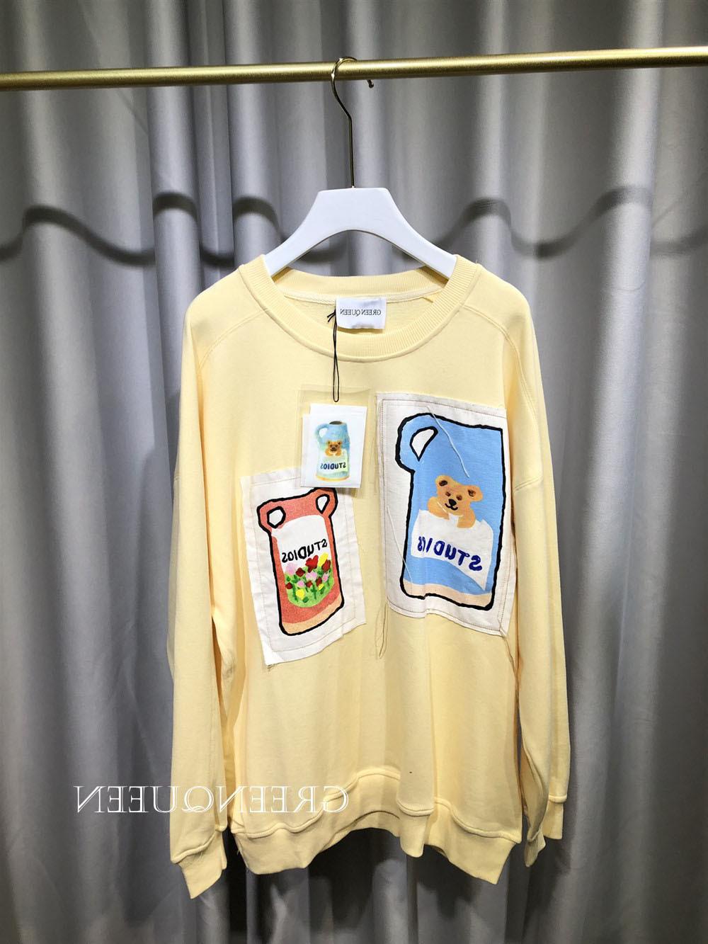 网红同款19秋季可爱小熊字母奶瓶贴布卡通宽松休闲卫衣女