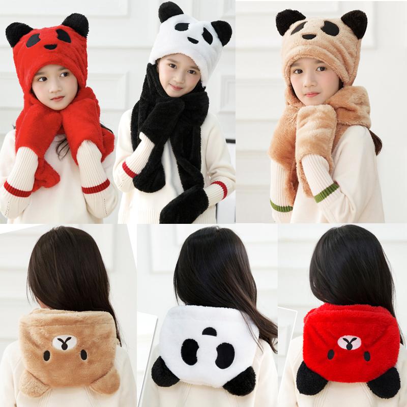 帽子儿童男女通用秋冬保暖可爱卡通小熊猫刺绣加厚围巾手套三件套