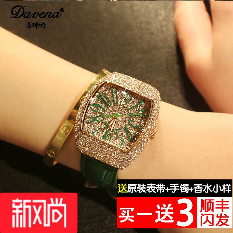 蒂玮娜正品水晶女士手表真皮带复古水钻表 酒桶大表盘石英时装表