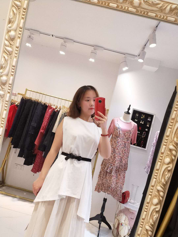 Entity operation 2020 new small fashion irregular round neck sleeveless medium length casual top T-shirt for women