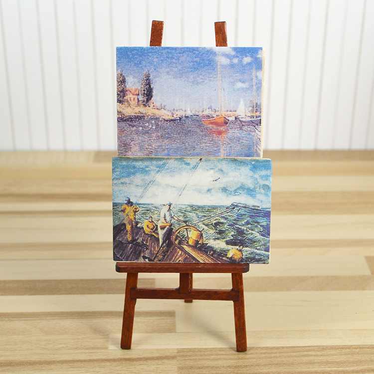 1: 12ob11 doll house props accessories mini oil painting frame model for BJD / painting with mini easel 4069