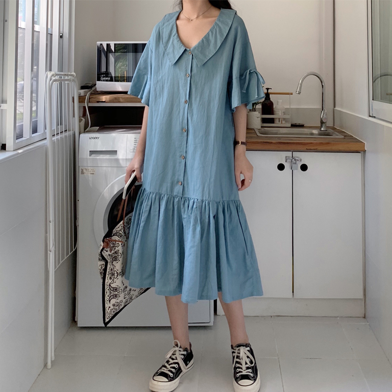 加肥加胖mm遮肚子衬衫连衣裙夏新款大码女装宽松减龄显瘦百褶长裙