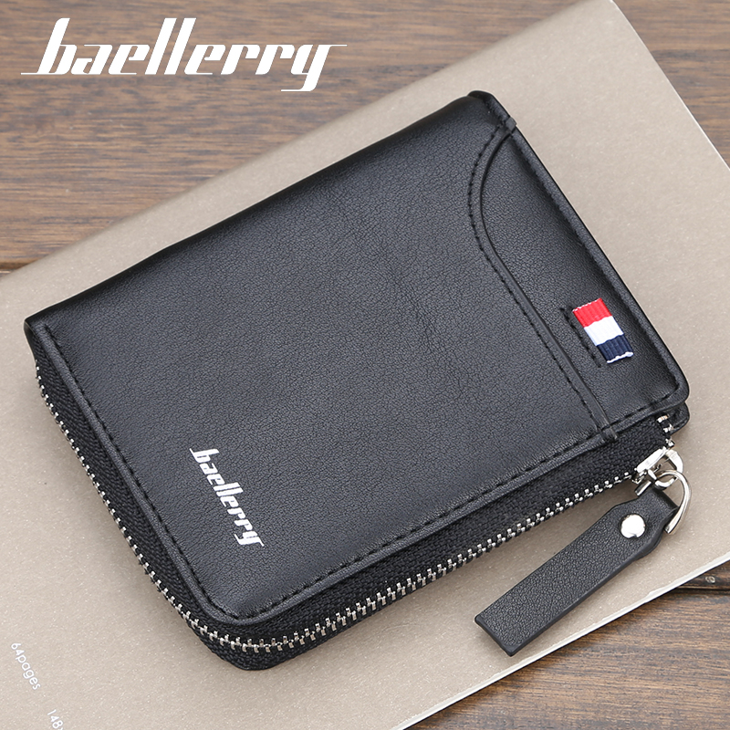 Wallet mens short fashion youth zipper soft leather clip multi card Leisure Business Student Wallet man bag Han Chao