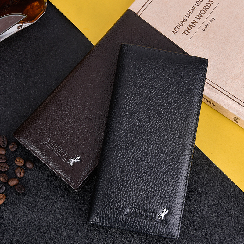 Wallet mens long leather multi card youth trend wallet head layer cowhide business student Zipper Wallet