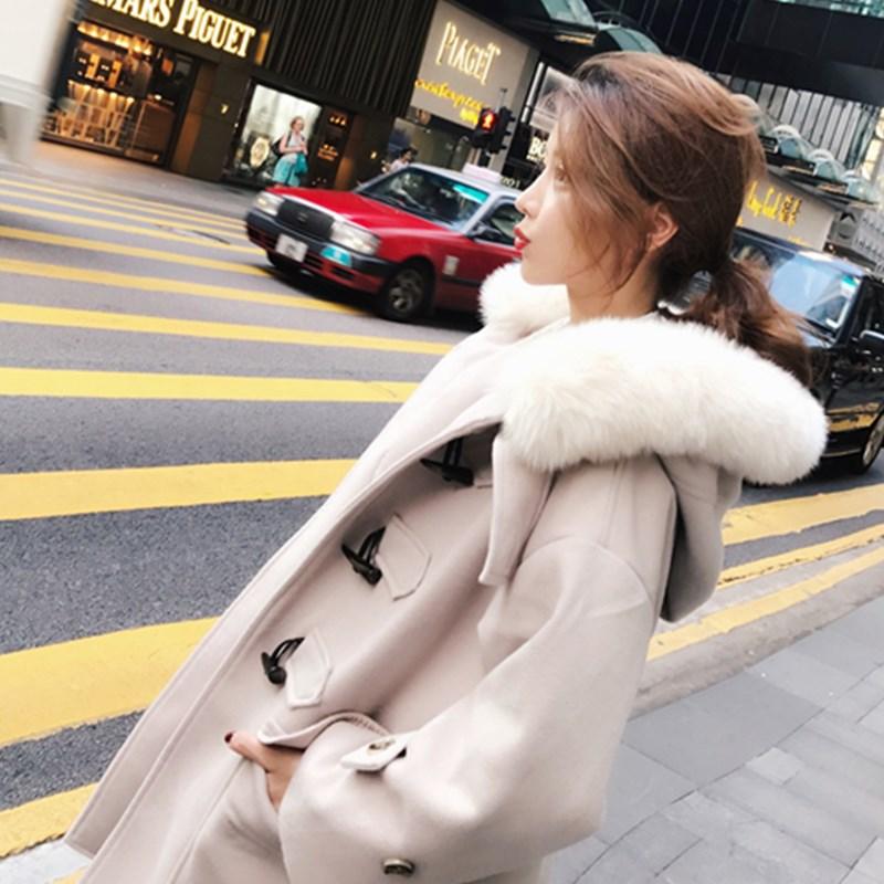 大衣女中长款呢子牛角扣反季加厚韩版2018新款森系毛呢小外套冬季