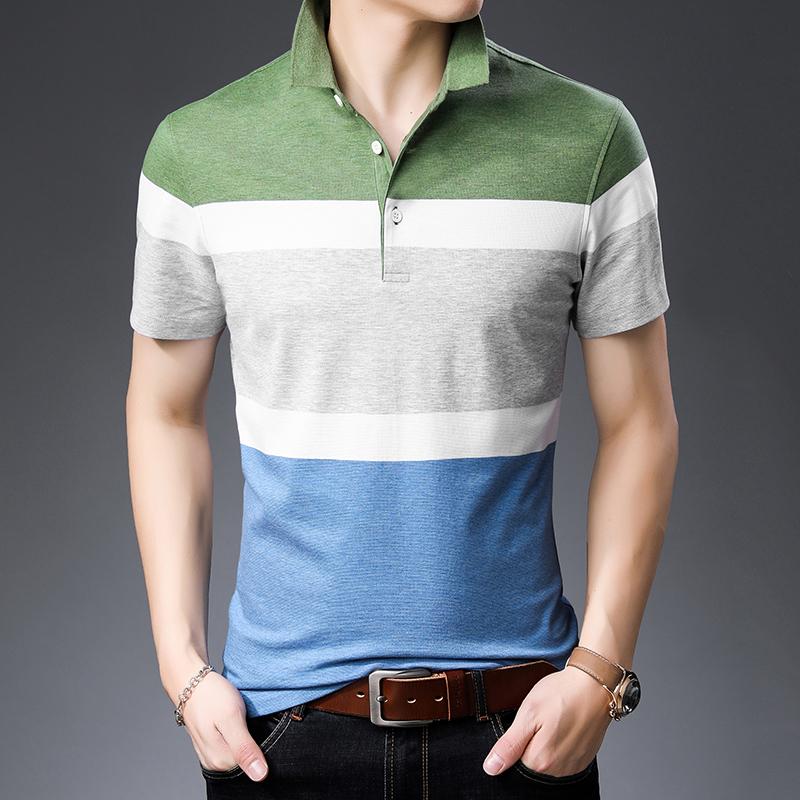 夏装时尚百搭上衣polo衫男短袖t恤夏季薄款高档半袖带领体桖男装