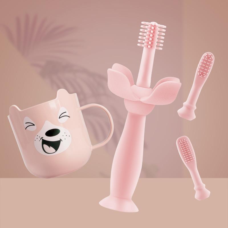 mdb儿童硅胶训练牙刷宝宝0-1-2-3岁婴幼儿乳牙360度清洁软毛小孩4热销138件限时秒杀