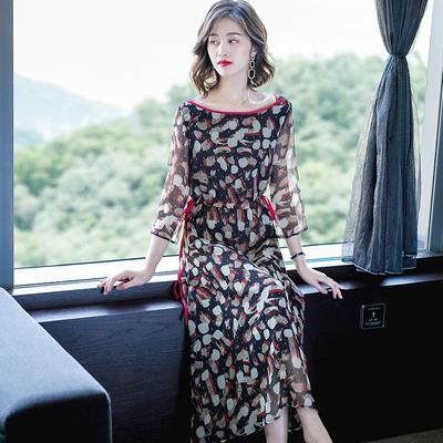 夏季女装连衣裙显瘦碎花时尚洋气春装2019新款中长款印花雪纺裙子