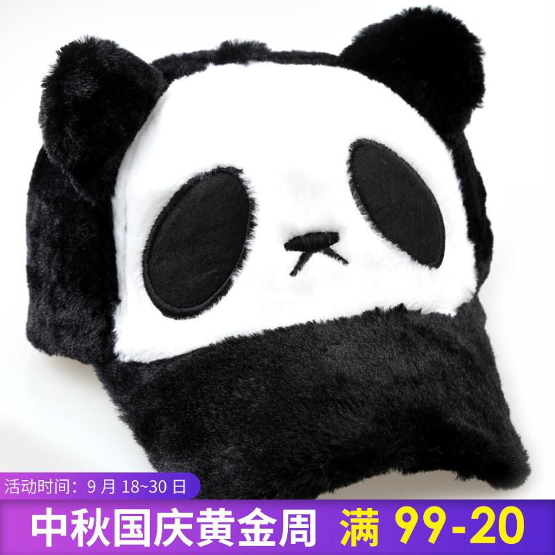 韩版潮可爱宝宝熊猫帽子冬天男女童鸭舌帽棒球帽亲子帽儿童毛绒帽