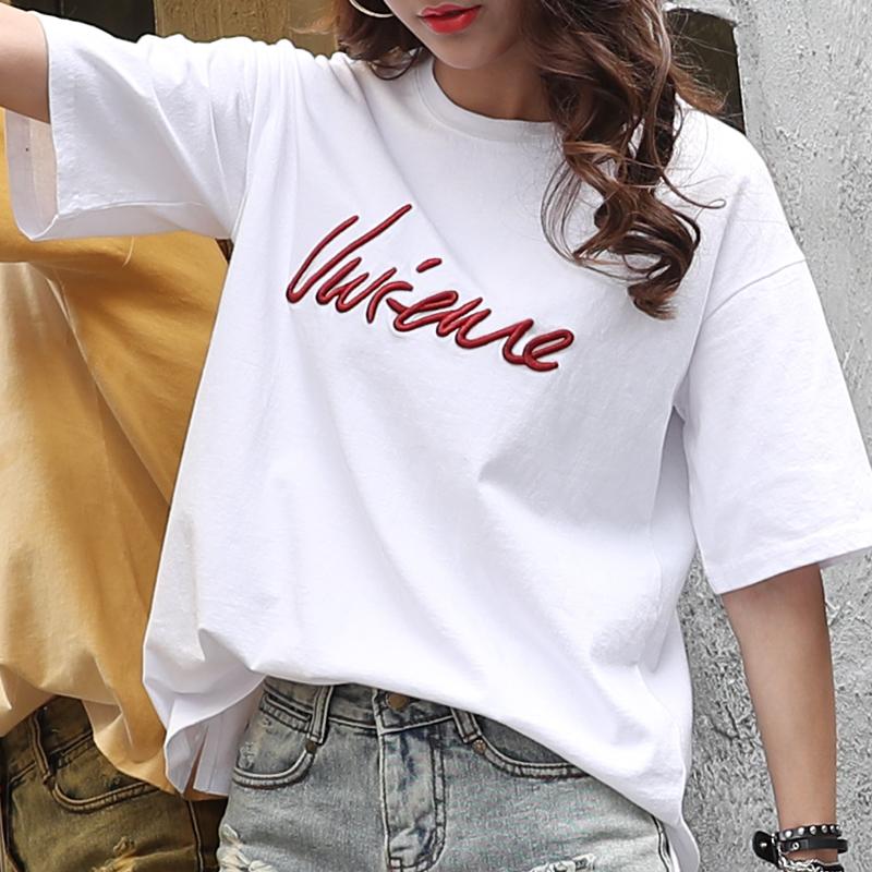 韩芙莲纯棉短袖t恤女白色休闲时尚简约宽松韩版上衣2018夏季新款