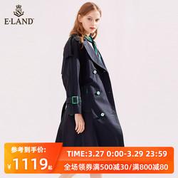 ELAND春夏新款过膝车缝线双排扣系带欧美风衣外套女EEJT911P3D