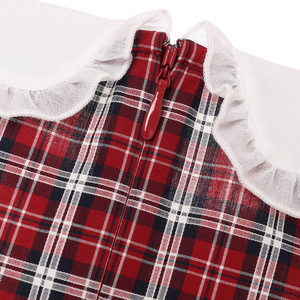 ELAND衣恋17年精品女装经典格子系带花边领连衣裙EEOW76503I