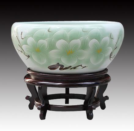 包郵 送6景德鎮陶瓷器手繪金魚缸碗蓮缸烏龜缸養魚盆家居裝飾擺件