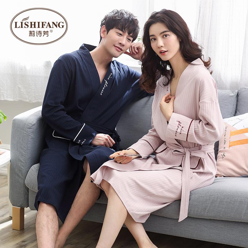 Ночное белье любители весна чистый хлопок, секретаря рукав мода длинная модель полоса халаты женские модели весна хлопок корейский мужской пижама