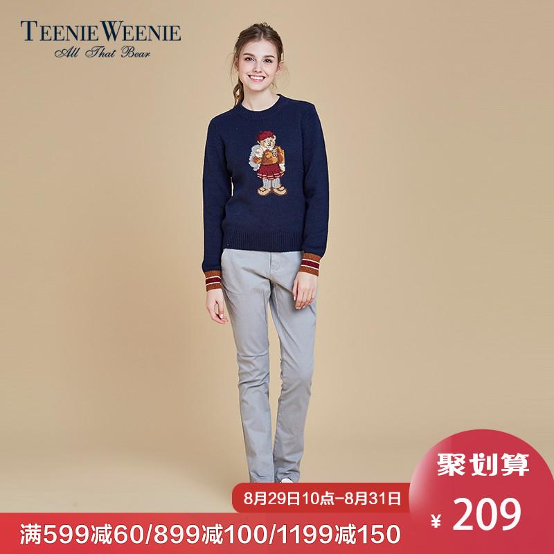 Teenie Weenie小熊女装休闲长裤直筒裤高腰时尚裤子潮TTTC64C01A
