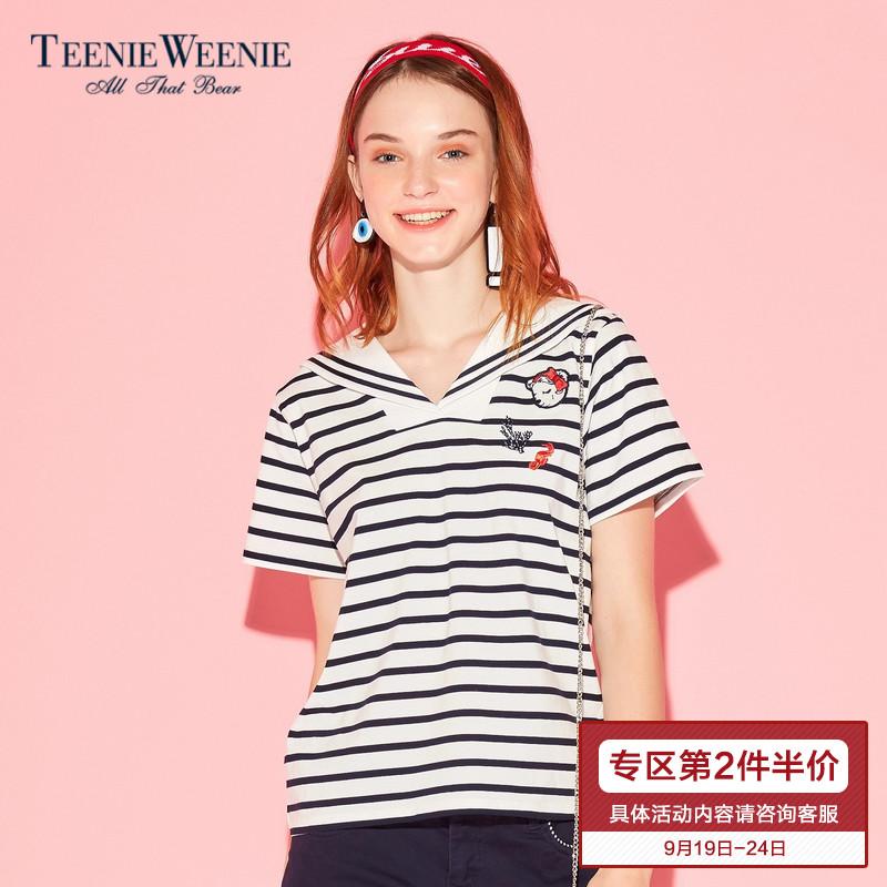 Teenie Weenie小熊夏季女装海军风刺绣条纹t恤女TTRA72693Q