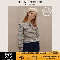 TeenieWeenie小熊格纹衬衫甜美娃娃领气质长袖衬衣设计感小众女冬