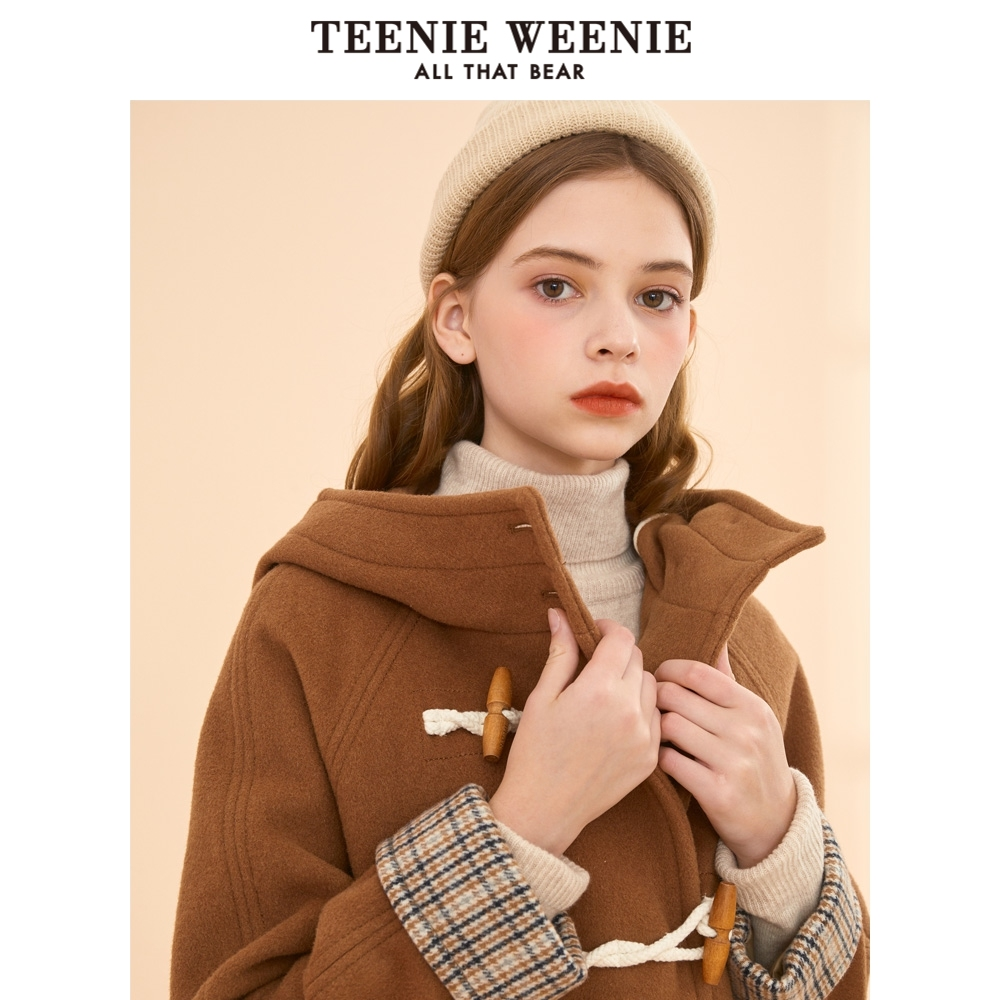 Teenie weenie bear Plaid overcoat women's winter cow horn button cloth overcoat medium length fashion Korean version