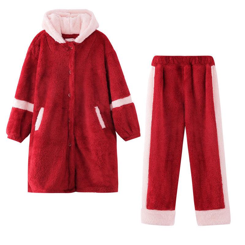 睡衣女秋冬季加厚加绒珊瑚绒可爱保暖法兰绒长款睡袍家居服套装浴
