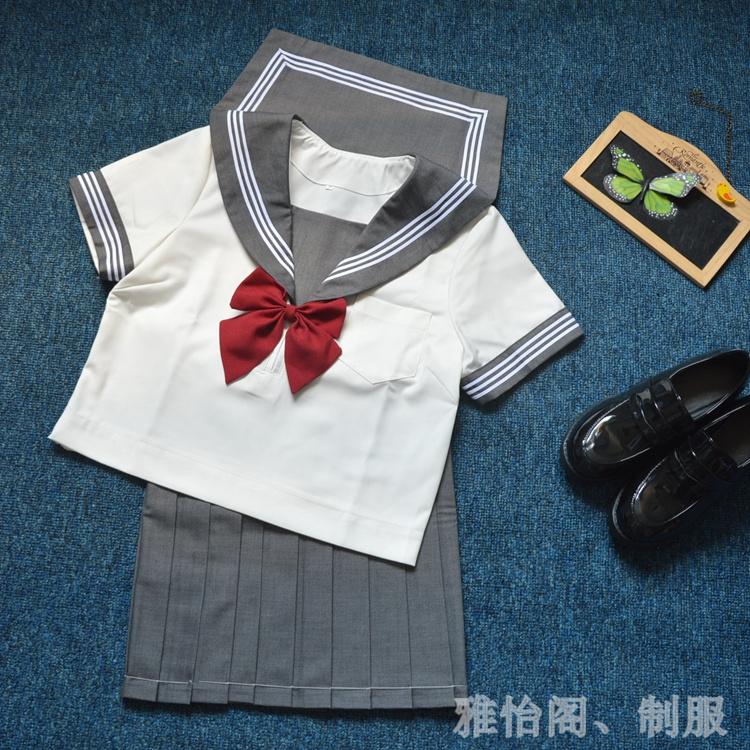 热销10件买三送一高端正统灰领白三本短袖JK制服水手服夏服套装学生班服基础款
