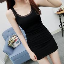 纯棉吊带背心女夏季新款蕾丝边中长款修身内搭无袖包臀打底连衣裙