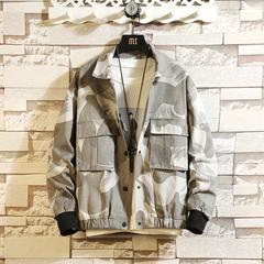 日系挂拍男春款花色大口袋夹克外套爆款青少年学生男W111-P80灰色