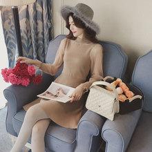 秋装新款网纱拼接喇叭袖针织连衣裙女长袖高腰显瘦中长款打底裙子