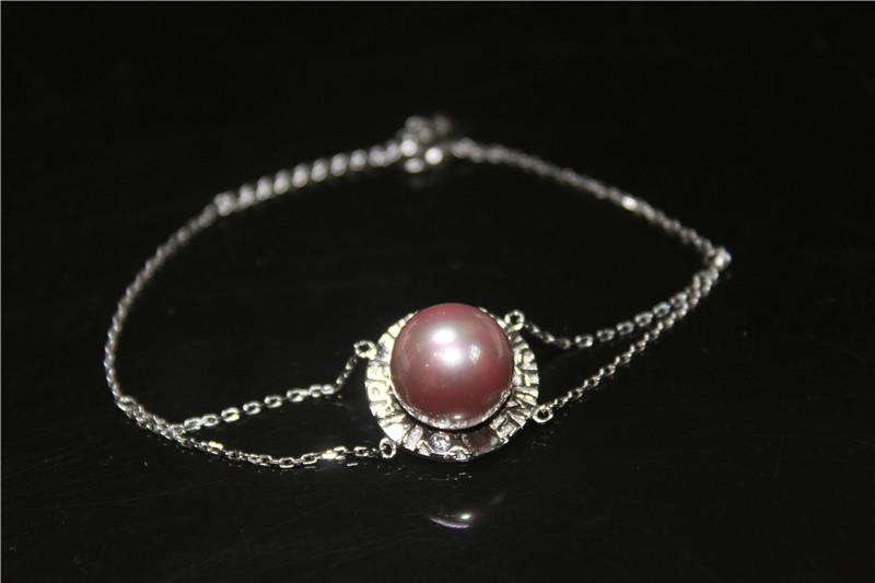 925通体纯银紫色贝珠圆盘手链双层个性珍珠可调节延长链手镯