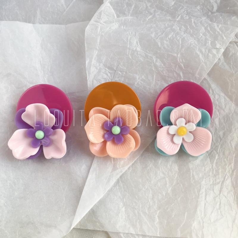 loquita极简简约百搭复古糖果色几何多层蛋糕花朵大花朵耳环 三色