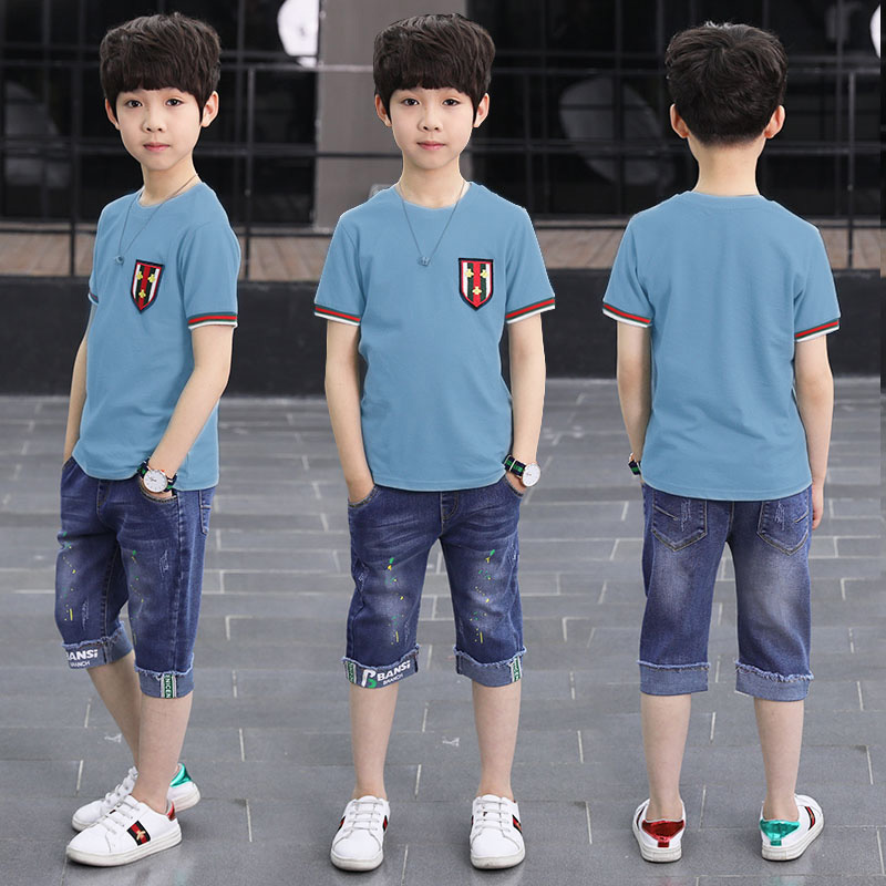 童装男童夏装套装2019新款儿童夏季短袖中大童韩版两件套男孩潮衣