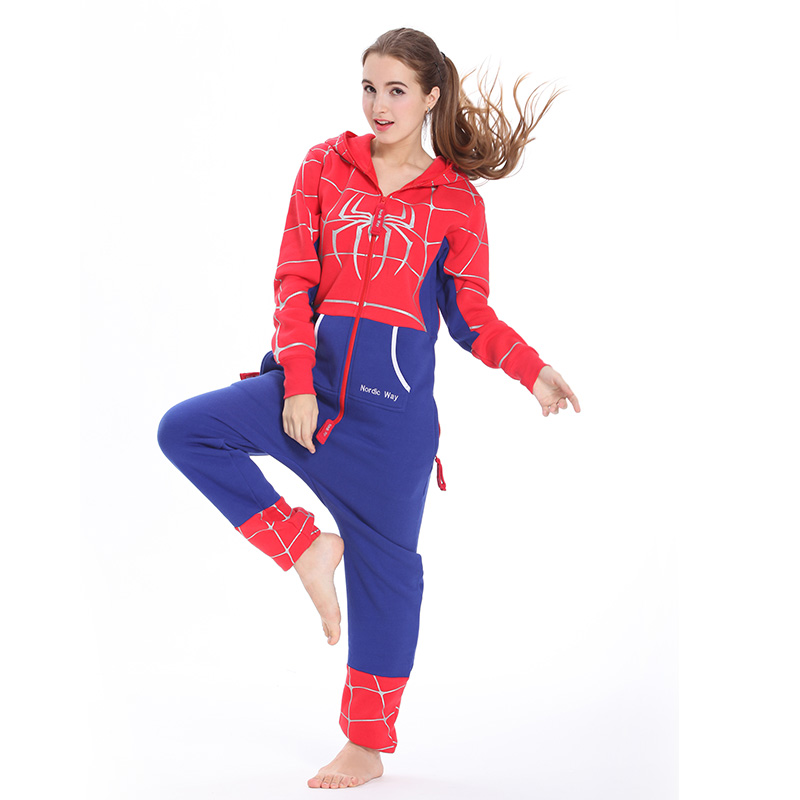 Winter bodysuit spider man academy style young lovely European and American couple